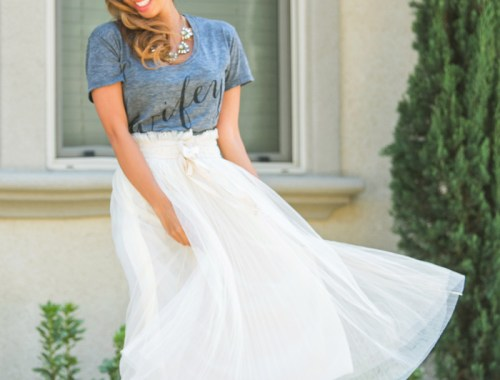 fashion blogger, petite fashion blog, fashionista, lace and locks, los angeles fashion blogger, wifey ily couture tee, tulle skirt, morning lavender boutique, morning lavender jewelry, affordable fashion