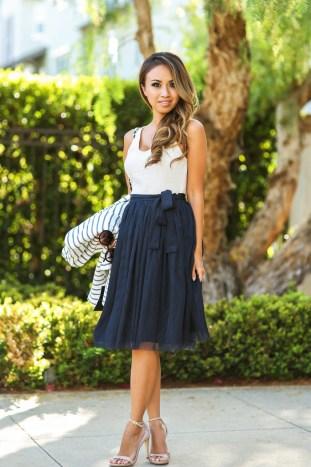 fashion blogger, petite fashion blog, fashionista, lace and locks, los angeles fashion blogger, morning lavender navy tulle skirt, stripe blazer, tulle skirt, feminine fashion blog