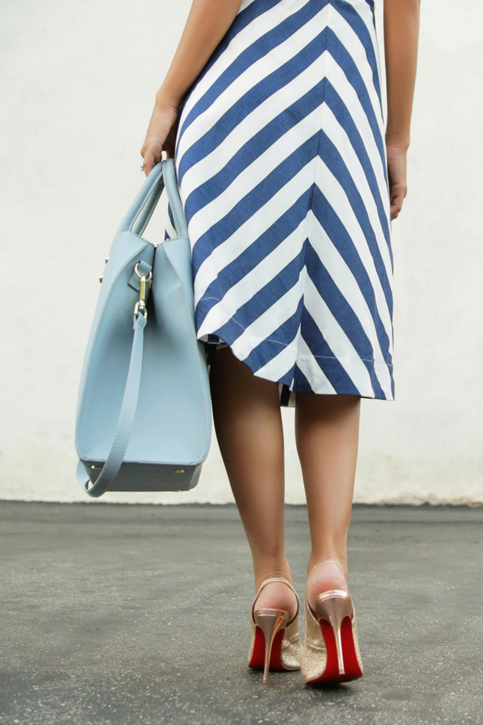 fashion blogger, petite fashion blog, fashionista, lace and locks, los angeles fashion blogger, stripe chevron skirt, morning lavender boutique, christian louboutin shoes, fourth of july fashion