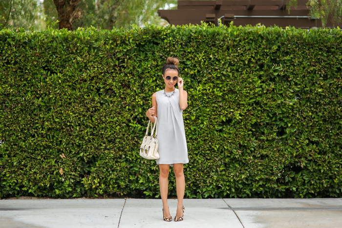 fashion blogger, petite fashion blog, fashionista, lace and locks, los angeles fashion blogger, gray shift dress, leopard pumps, liberty sage, marc jacobs satchel