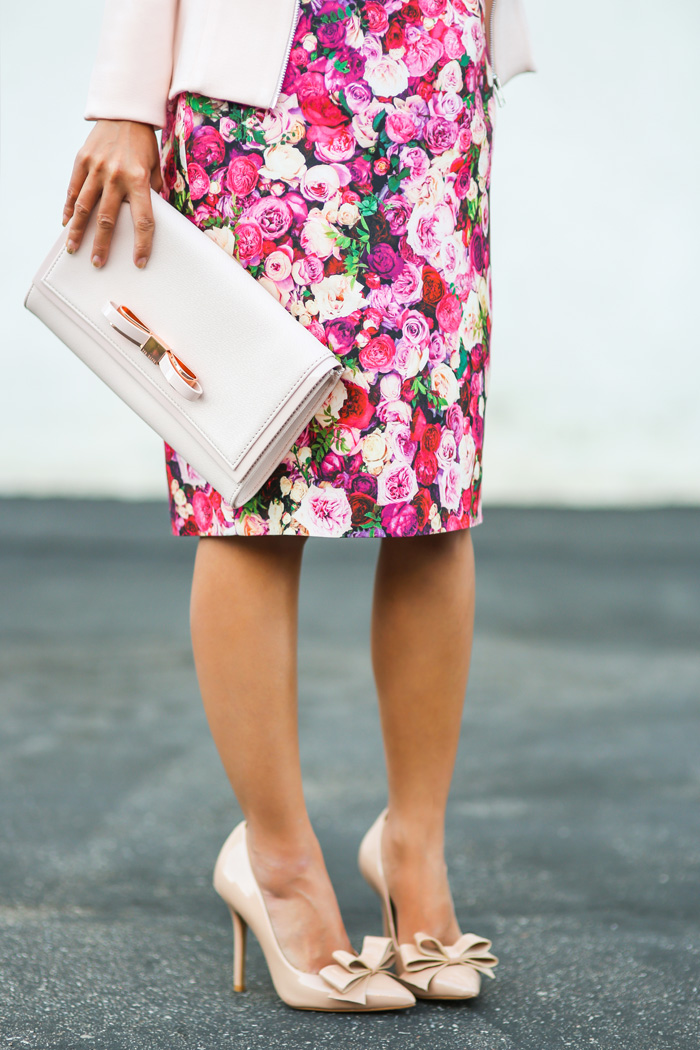 fashion blogger, petite fashion blog, fashionista, lace and locks, los angeles fashion blogger, kate spade floral pencil skirt, topshop jacket, bow shoes, ted baker clutch