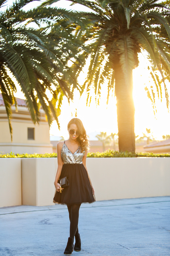 petite fashion blog, lace and locks, los angeles fashion blogger, morning lavender, new years eve fashion, sequin tulle dress, tulle dress, ysl tassel crossbody