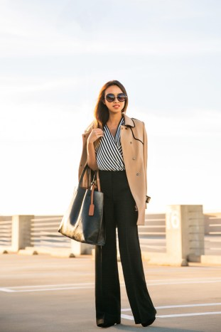 petite fashion blog, lace and locks, los angeles fashion blogger, morning lavender, ann taylor pants, morning lavender, camel trench coat, black tote, affordable fashion, office wear, office fashion