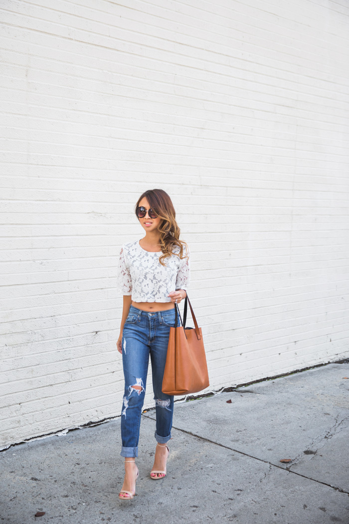 petite fashion blog, lace and locks, los angeles fashion blogger, morning lavender, lace crop top, lace skirt, lace matching set, boyfriend jeans, streetstyle