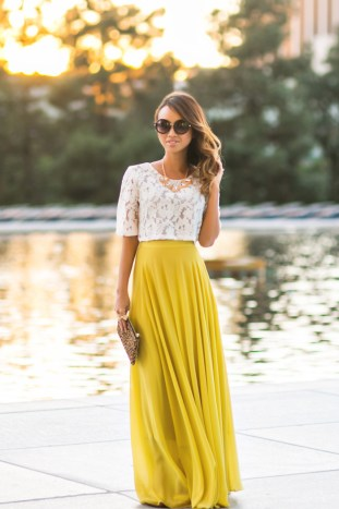 petite fashion blog, lace and locks, los angeles fashion blogger, morning lavender, lace crop top, yellow maxi skirt, cute maxi skirt, leopard clutch