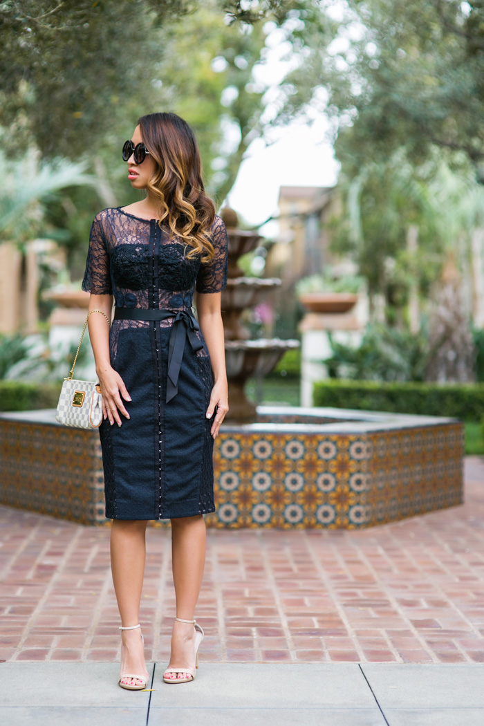 petite fashion blog, lace and locks, los angeles fashion blogger, anthropologie lace dress, anthropologie carissima sheath, style blog, spring fashion