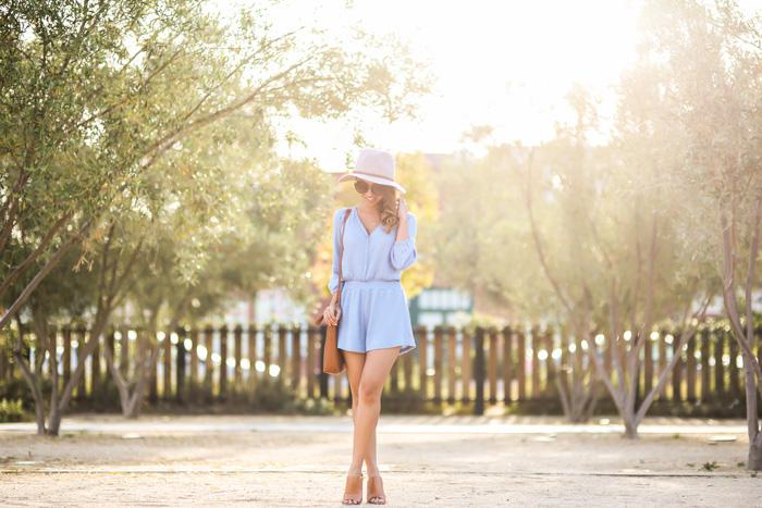 petite fashion blog, lace and locks, los angeles fashion blogger, spring blue romper, morning lavender romper, spring fashion, madewell handbag, brown mules shoes