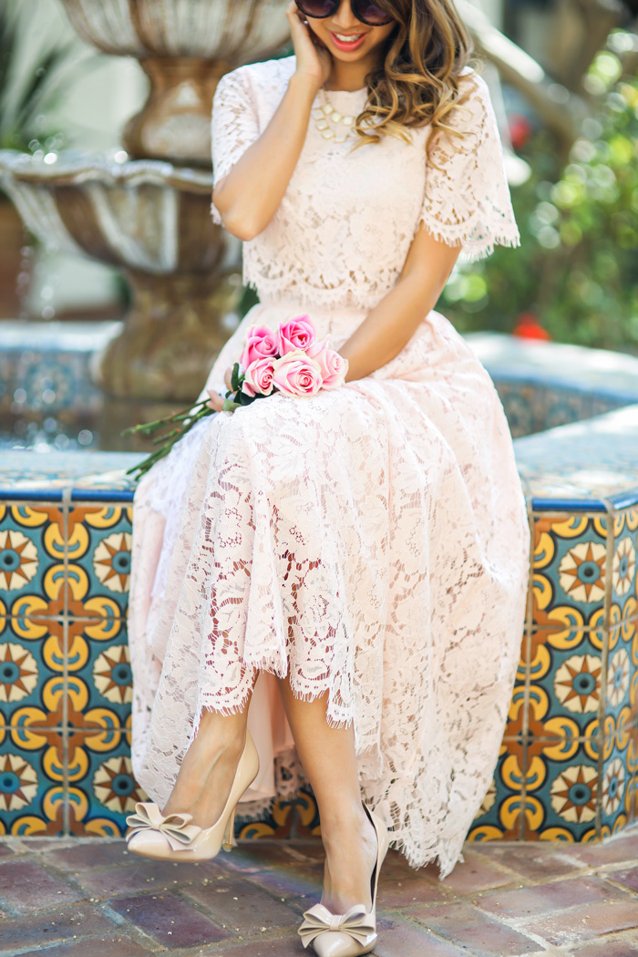 petite fashion blog, lace and locks, los angeles fashion blogger, lace midi dress, lace prom dress, asos lace dress, blush lace dress