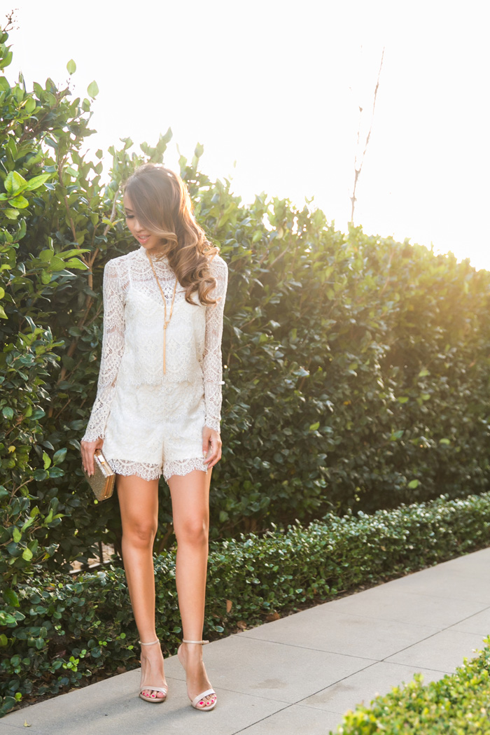 petite fashion blog, lace and locks, los angeles fashion blogger, lace romper, anthropologie romper, rompers for women, feminine fashion