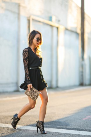 petite fashion blog, lace and locks, los angeles fashion blogger, spring fashion, black lace romper, date night looks, morning lavender romper, cute rompers, leopard clutch