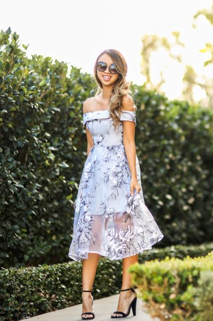 petite fashion blog, lace and locks, los angeles fashion blogger, spring fashion, off the shoulder dress, floral dress, asos dress, wedding guest dress