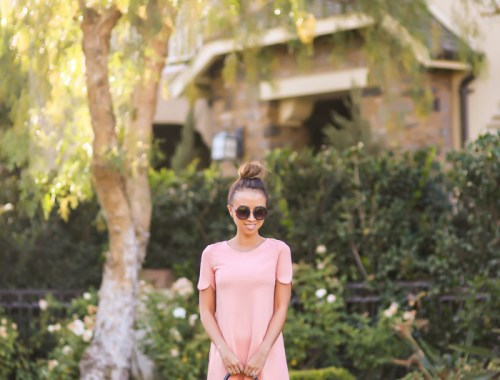 petite fashion blog, lace and locks, los angeles fashion blogger, spring fashion, peach scallop dress, ted baker bow bag, nude bow pumps