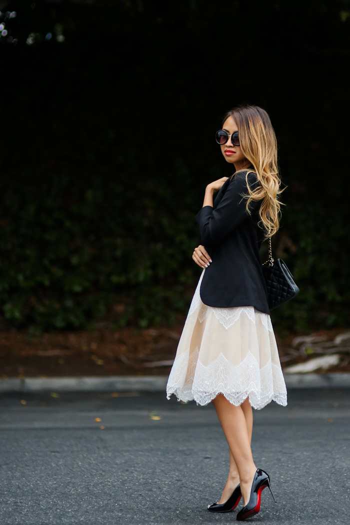 petite fashion blog, lace and locks, los angeles fashion blogger, tulle skirts for women, morning lavender tulle, lace skirts, christian louboutin so kate