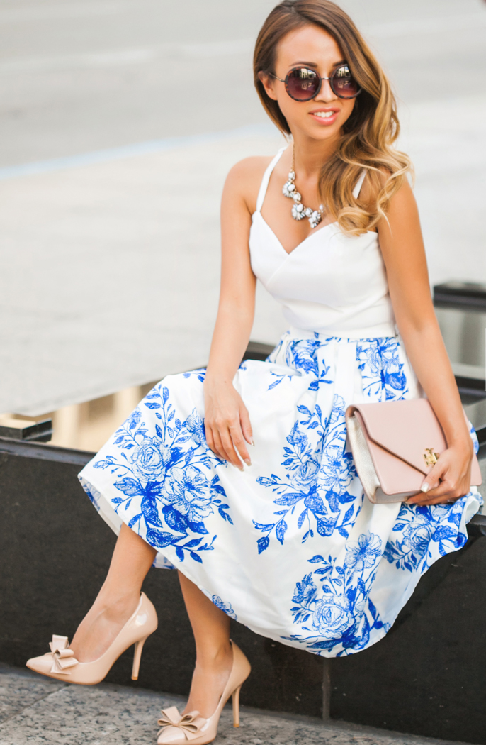 petite fashion blog, lace and locks, los angeles fashion blogger, floral midi skirt, chicwish skirt, dallas fashion blogger, cute fashion for women