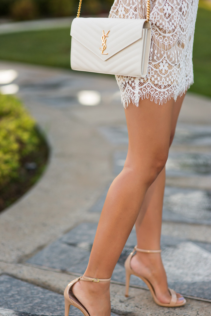 petite fashion blog, lace and locks, los angeles fashion blogger, lace romper, morning lavender lace romper, cute rompers for women, orange county blogger, ysl clutch