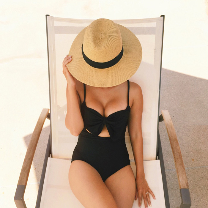 one piece swimwear, lolli swim, bow swimsuit, lace and locks, petite fashion blogger