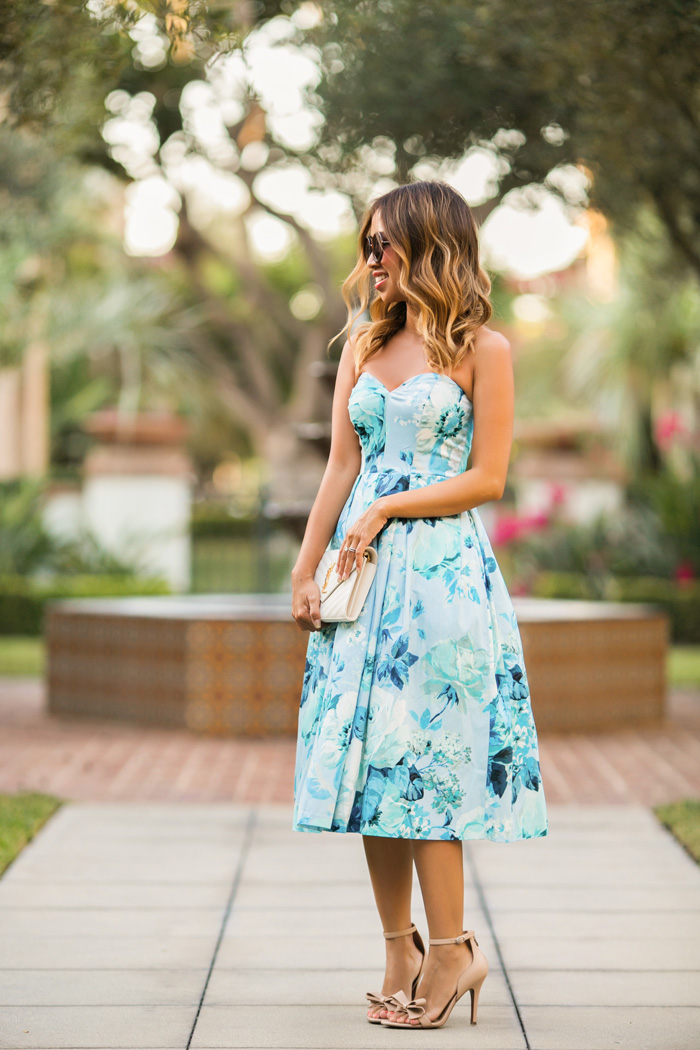 lace and locks petite fashion blogger floral midi dress - 04