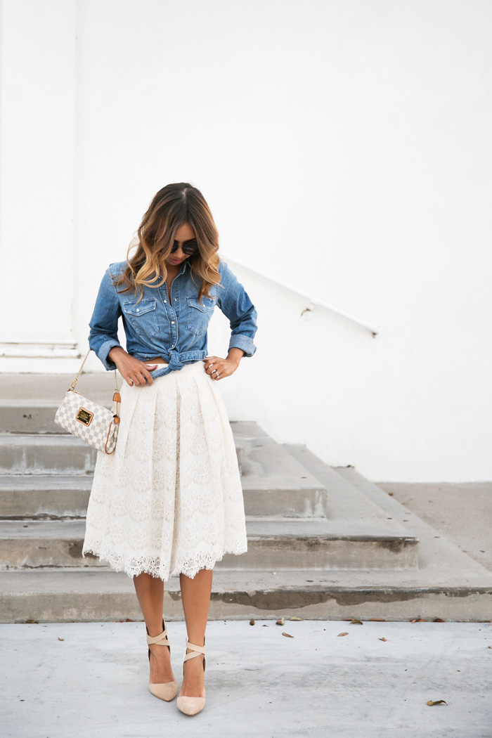 2755a3ddae petite fashion blog, lace and locks, los angeles fashion blogger, lace midi  skirt