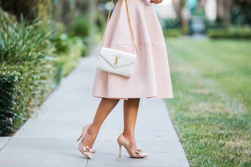 petite fashion blog, lace and locks, los angeles fashion blogger, pink halter dress, asos dress, backless dress, fit and flare pink dress, ysl white clutch