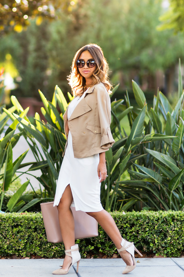petite fashion blog, lace and locks, los angeles fashion blogger, asos dress, office fashion, fall fashion, neutral fashion, ann taylor jacket