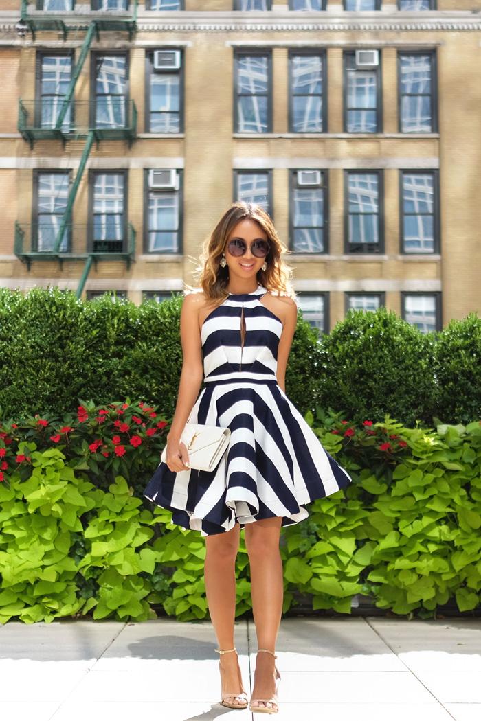 petite fashion blog, lace and locks, los angeles fashion blogger, stripe dress, fit and flare dress, morning lavender dress, nyfw dress, new york fashion