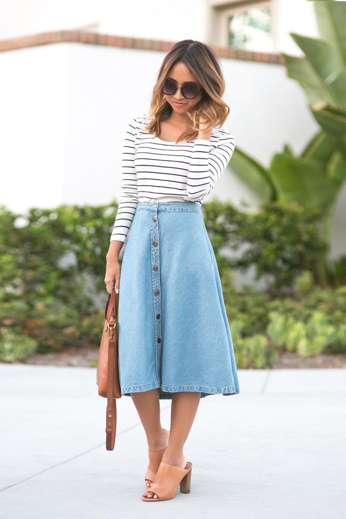 petite fashion blog, lace and locks, los angeles fashion blogger, morning lavender shop, denim midi skirt, casual fall look