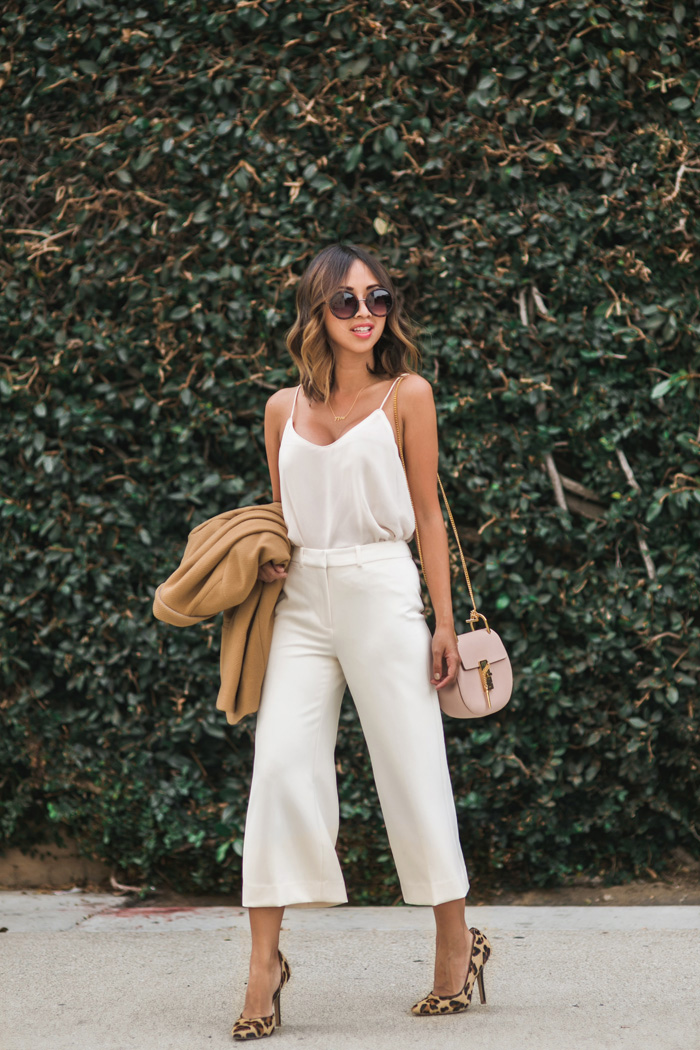 petite fashion blog, lace and locks, los angeles fashion blogger, white culottes, camel blazer, fall fashion ideas, fall neutrals, leopard pumps, chloe drew mini blush, orange county fashion blogger