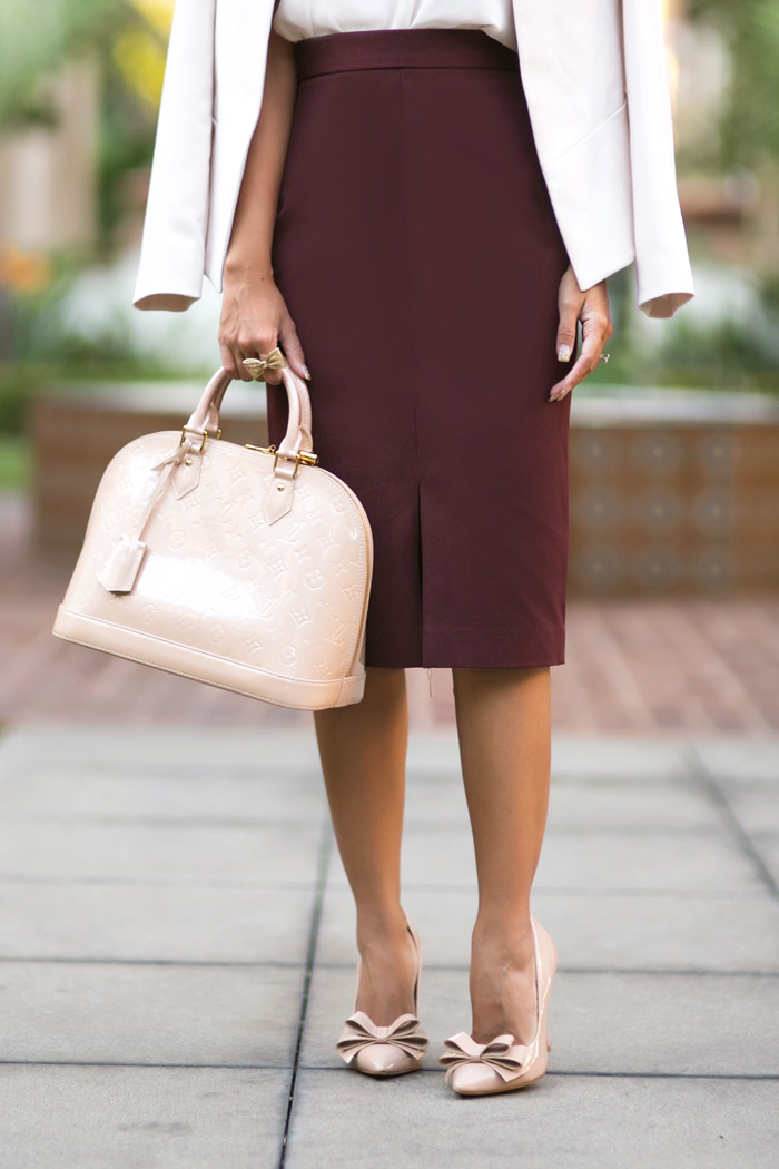 petite fashion blog, lace and locks, los angeles fashion blogger, office outfits, fall fashion, pink office outfit, burgundy skirt, work attire