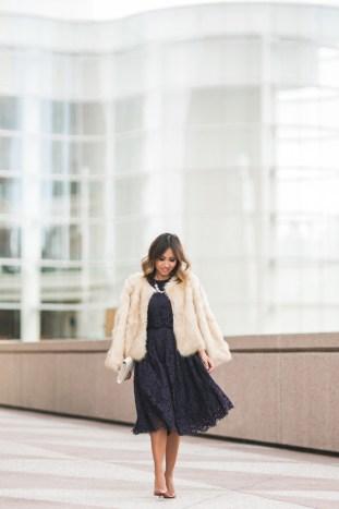 petite fashion blog, lace and locks, los angeles fashion blogger, lace midi dress, faux fur coat, holiday outfit ideas, holiday dress, orange county blogger