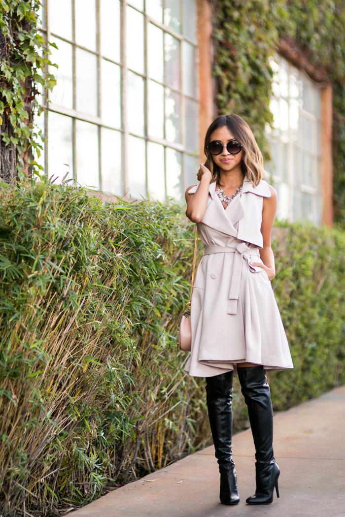 petite fashion blog, lace and locks, los angeles fashion blogger, trench coat dress, over the knee boots, chloe mini drew, orange county blogger