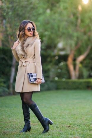 petite fashion blog, lace and locks, los angeles fashion blogger, camel faux fur coat, kate spade plaid clutch, daniel wellington watch, skinny calf boots, fall fashion outfit, daniel wellington discount