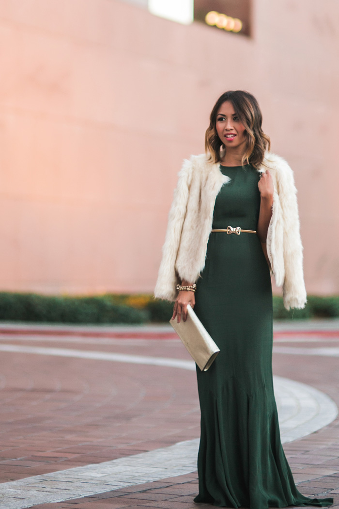 petite fashion blog, lace and locks, los angeles fashion blogger, green holiday dress, asos dress, holiday outfit ideas, 31 bits, faux fur jacket, oc blogger