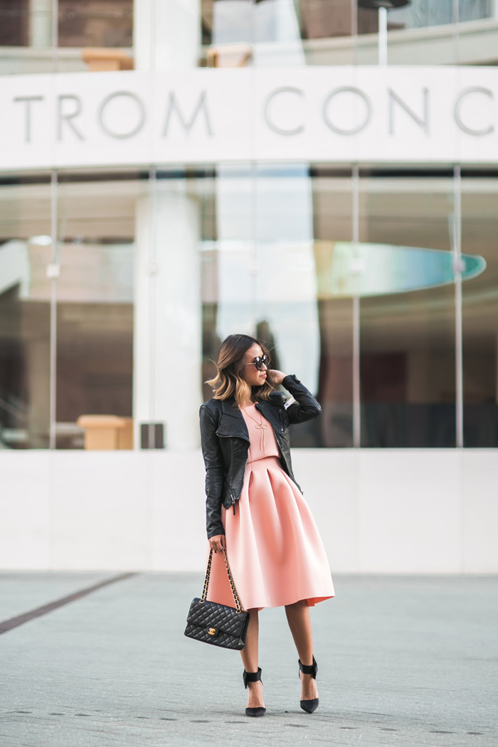 petite fashion blog, lace and locks, los angeles fashion blogger, pink dress and leather jacket, cropped leather jacket, bow heels, asos dress, chanel handbag, oc blogger