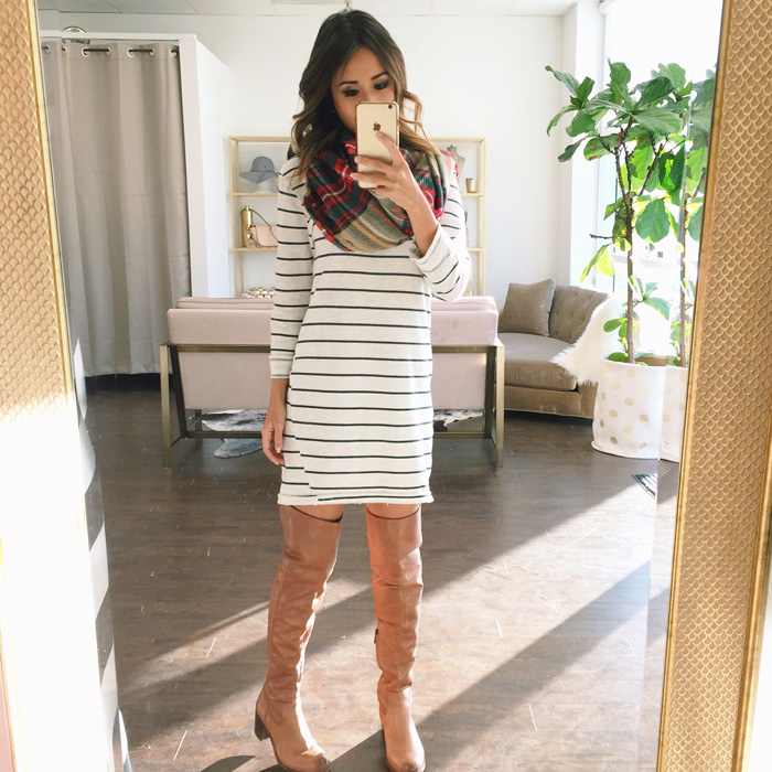lace and locks, petite fashion blogger, stripe dress, plaid scarf, over the knee brown boots, morning lavender showroom