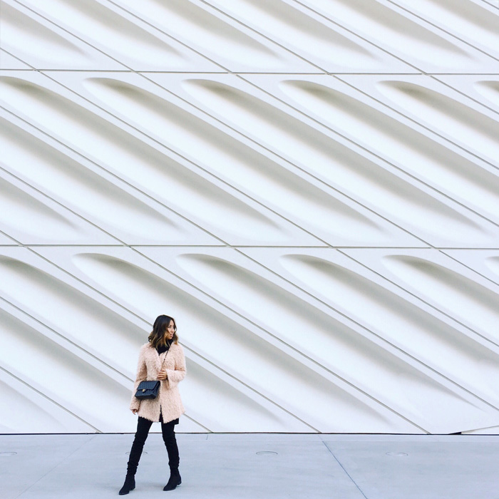 lace and locks, petite fashion blogger, pink faux fur coat, the broad museum, over the knee black boots, chanel streetstyle, los angeles blogger