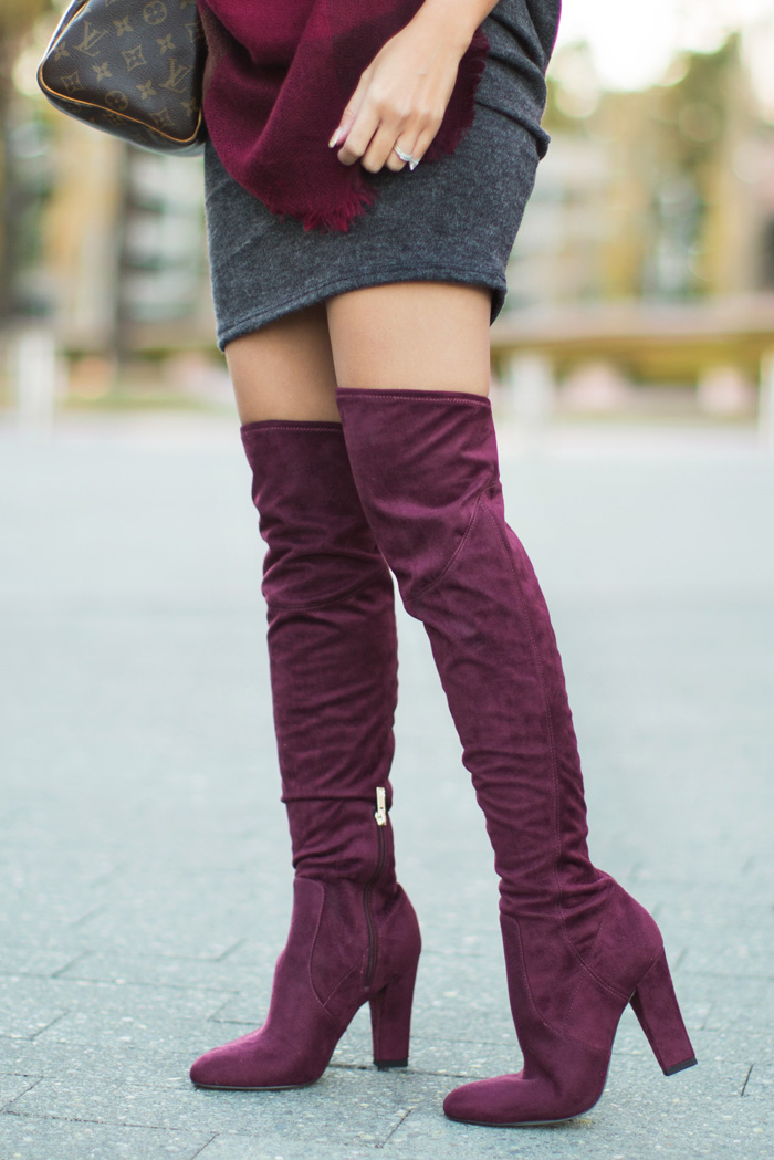 petite fashion blog, lace and locks, los angeles fashion blogger, morning lavender sweater dress, grey sweater dress, burgundy blanket scarf, burgundy over the knee boots, winter fashion