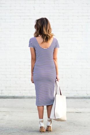 petite fashion blog, lace and locks, los angeles fashion blogger, stripe sheath dress, reversible ivory tote, streetstyle, stripe outfit, cute stripe dress