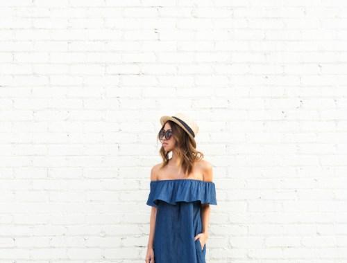 petite fashion blog, lace and locks, los angeles fashion blogger, morning lavender boutique, off the shoulder denim dress, cute casual dresses