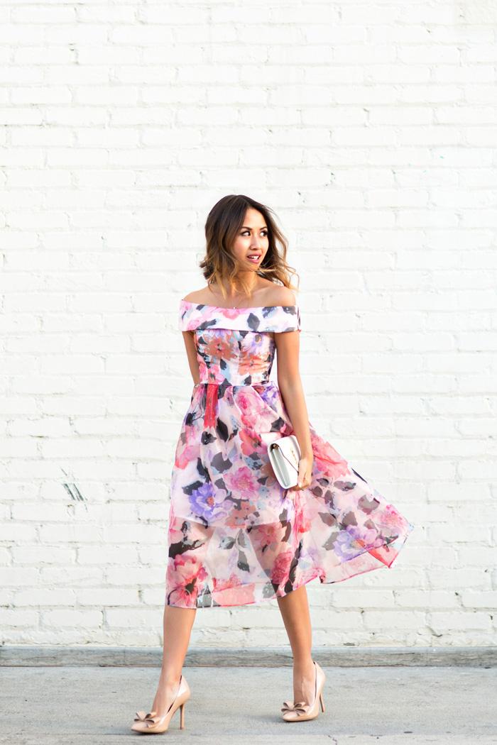 lace and locks, petite fashion blogger, off the shoulder floral dress, wedding guest dress, bow pumps, spring dresses