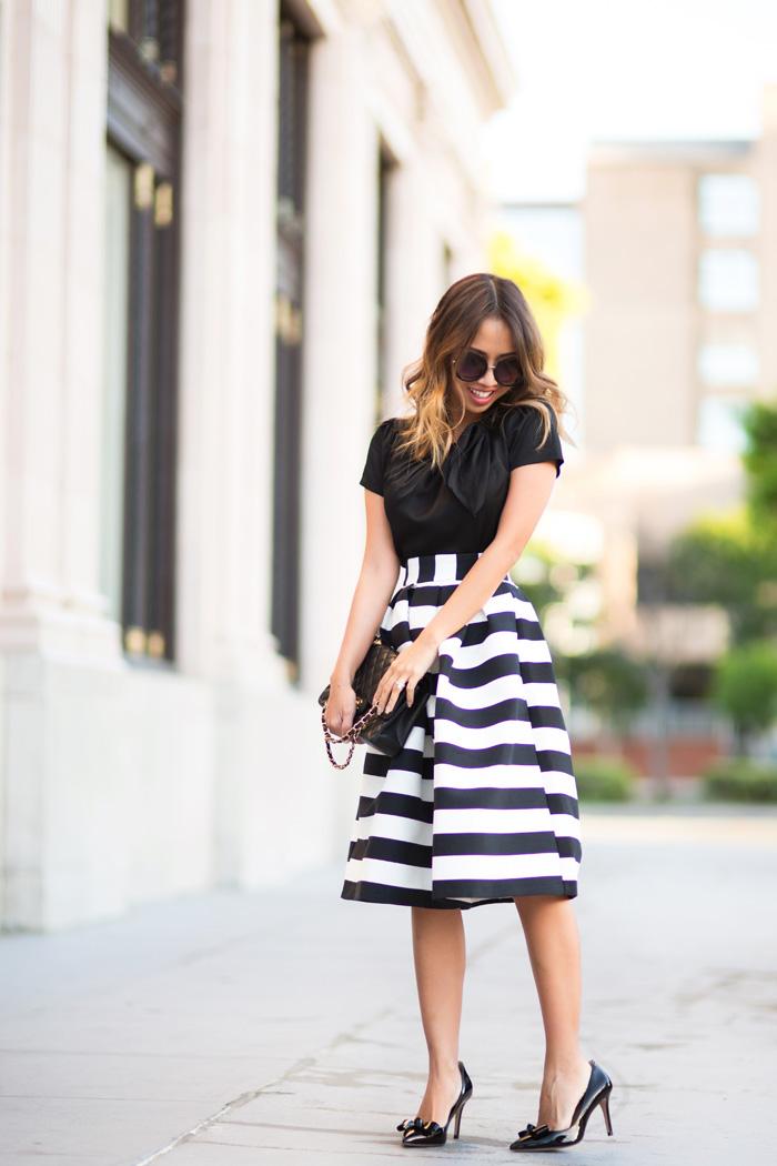 petite fashion blog, lace and locks, los angeles fashion blogger, striped midi skirt, black and white stripe skirt, bow heels, feminine fashion, midi skirt outfits