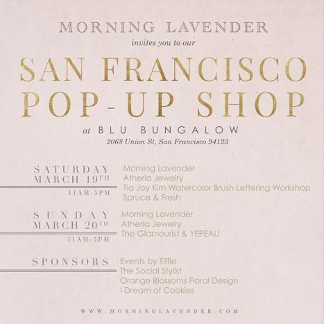 morning lavender pop up shop, san francisco pop up shop