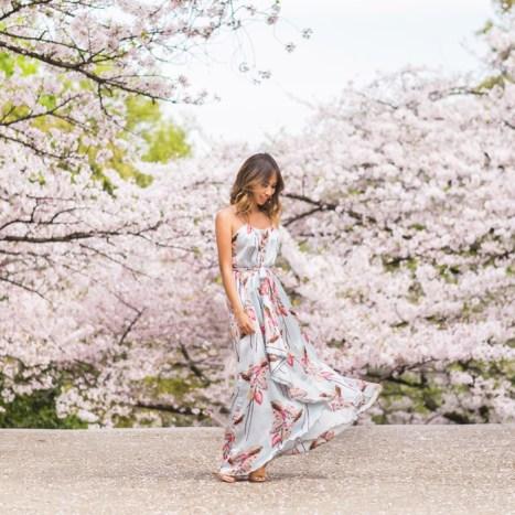 petite fashion blog, lace and locks, los angeles fashion blogger, japan travel diary, tokyo fashion blogger, morning lavender maxi dress, japan sakura trees