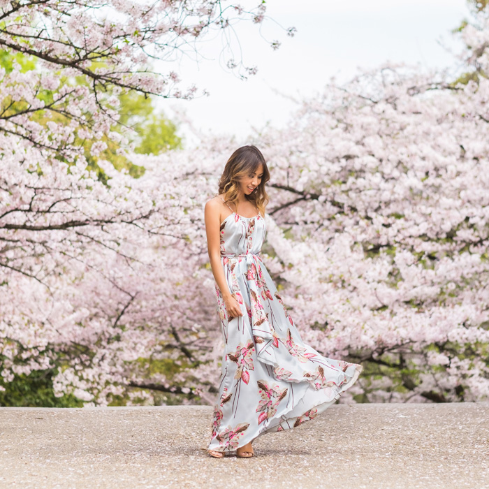 petite fashion blog, lace and locks, los angeles fashion blogger, japan travel diary, tokyo fashion blogger, morning lavender maxi dress, japan sakura trees