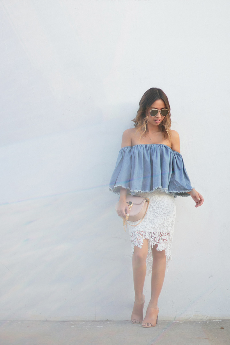 petite fashion blog, lace and locks, los angeles fashion blogger, lace pencil skirt, off the shoulder denim top, spring outfit ideas, chloe mini drew, orange county fashion blogger
