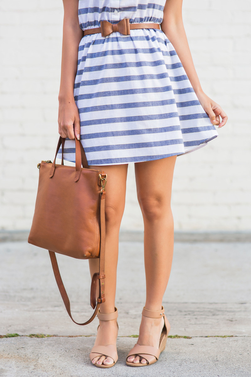 petite fashion blog, lace and locks, los angeles fashion blogger, stripe off the shoulder dress, asos off the shoulder dress, steve madden wedges, vacation outfit ideas, travel outfit ideas