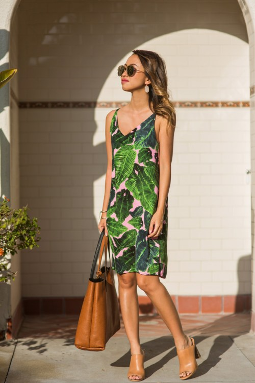 petite fashion blog, lace and locks, los angeles fashion blogger, palm print dress, topshop dress, summer outfit ideas, brown mules