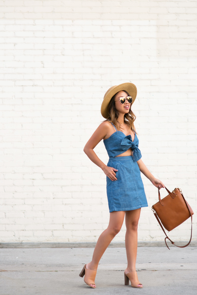 petite fashion blog, lace and locks, los angeles fashion blogger, oc fashion blogger,topshop dress, denim bow dress, summer fashion