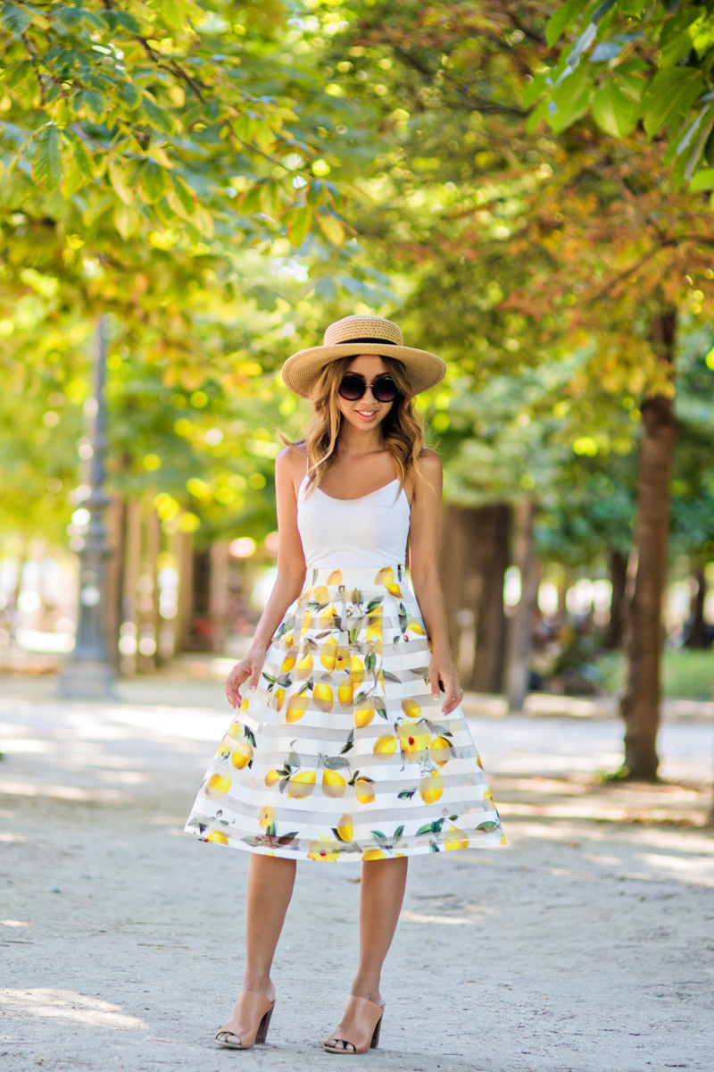 petite fashion blog, lace and locks, morning lavender skirt, lemon midi skirt, cute midi skirts, travel blogger, paris blogger