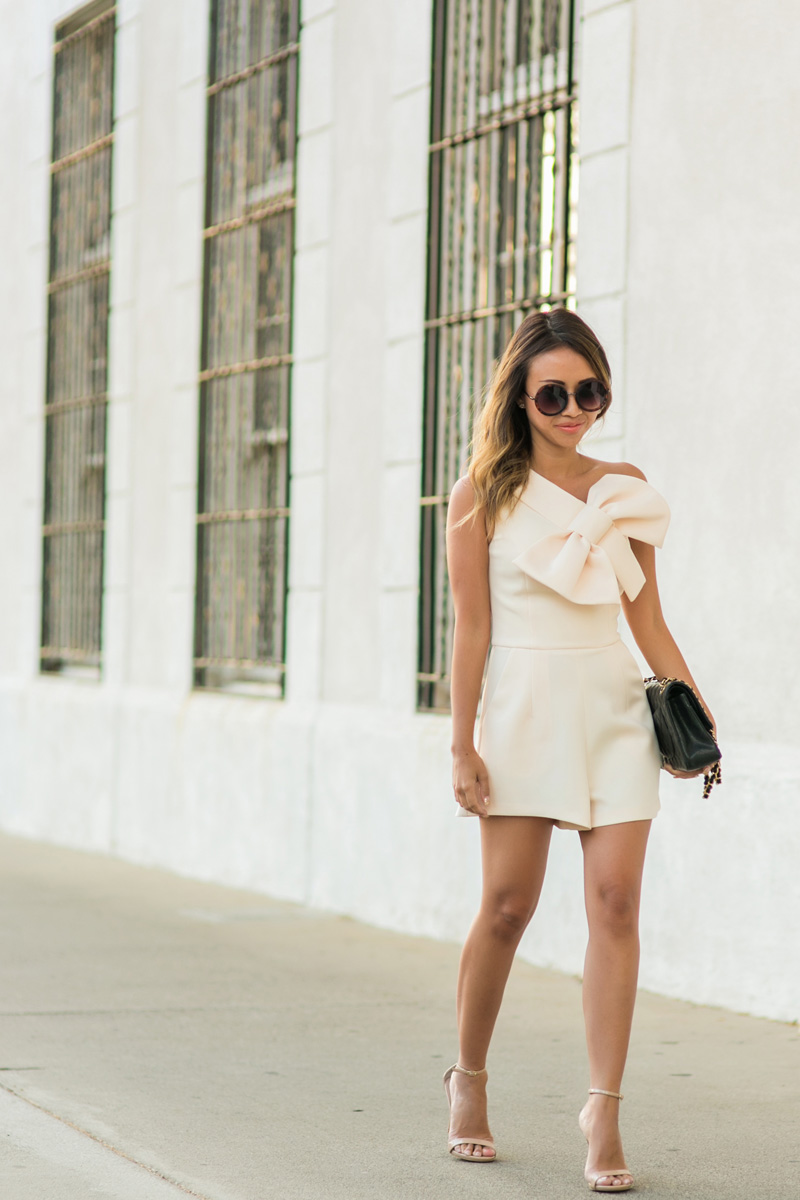 petite fashion blog, lace and locks, los angeles fashion blogger, oc fashion blogger, cute rompers for women, asos romper, bow romper