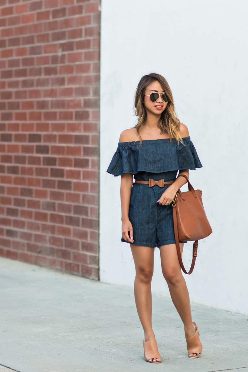 petite fashion blog, lace and locks, los angeles fashion blogger, oc fashion blogger, off the shoulder denim romper, asos rompers, cute rompers for women, brown mules